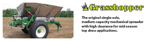 Grasshopper mechanical row crop fertilizer spreader lime spreader
