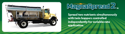 MagnaSpread2 two-bin hopper fertilizer spreader